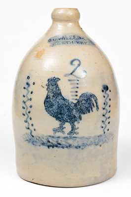 Rare J. C. WAELDE / NORTH BAY Stoneware Jug w/ Elaborate Rooster Decoration
