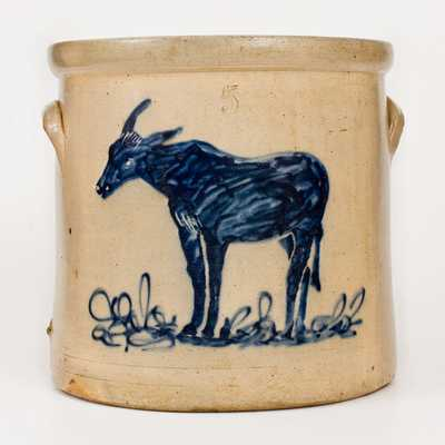 Attrib. West Troy, New York, Stoneware Crock w/ Mule Design