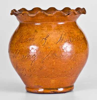 Important George Kline, Harrisonburg, Virginia, 1826 Redware Sugar Bowl