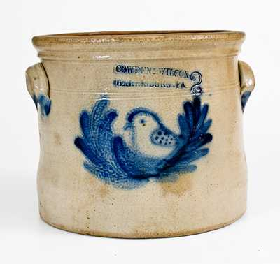 COWDEN & WILCOX / HARRISBURG, PA Stoneware Crock w/ Bird Decoration
