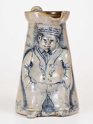 Stoneware Pitcher with Hand-Modeled Figure of a Railroad Conductor, Inscribed