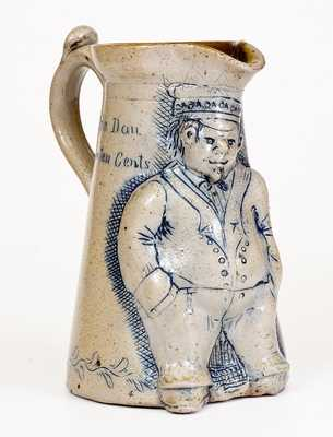 Exceptional Anna Pottery Stoneware Figural Railroad Conductor Pitcher