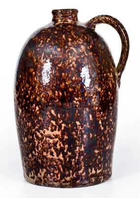 Outstanding JOHN BELL Redware Jug w/ Profuse Manganese Decoration, J. W. BELL / 1865