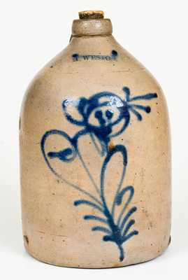 H. WESTON (Honesdale, PA) Stoneware Jug with Slip-Trailed Floral Decoration
