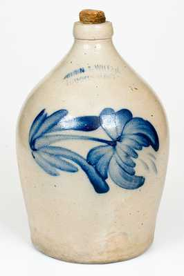 COWDEN & WILCOX / HARRISBURG, PA Stoneware Jug with Floral Decoration