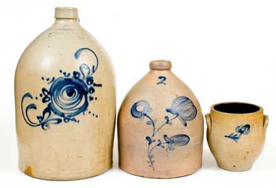 Three Northeastern Stoneware Vessels incl. 5 Gal. NEW YORK STONEWARE CO. Jug