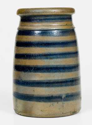 Scarce Western PA Stoneware Canning Jar w/ Seven-Striped Cobalt Decoration
