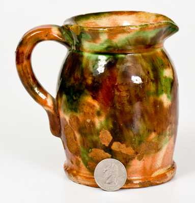 Rare Shenandoah Valley Multi-Glazed Redware Cream Pitcher
