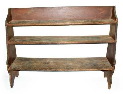 Rare and Fine Painted Pine Bucket Bench, American, early 19th century