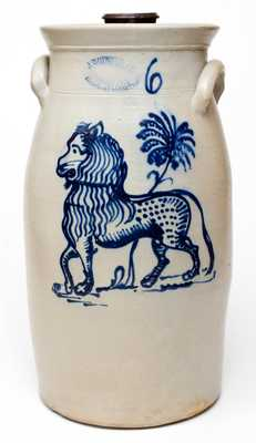 Rare and Important J. BURGER, JR. / ROCHESTER, NY Six-Gallon Stoneware Lion Churn