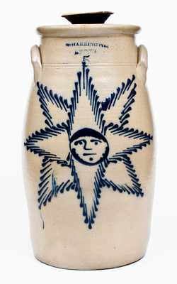 Exceptional Five-Gallon T. HARRINGTON / LYONS Stoneware Churn w/ Bearded Starface Design