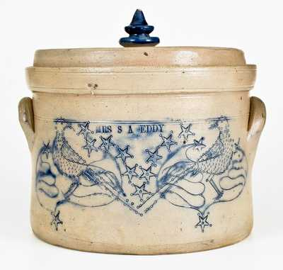 Elaborate Stoneware Presentation Butter Crock w/ Incised Birds att. Somerset Potters Works, Mass.