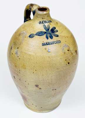 Fine P. CROSS / HARTFORD, CT 2 Gal. Stoneware Jug with Incised Decoration