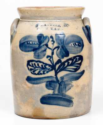 J. MANTELL / PENN YAN, NY Stoneware Jar with Elaborate Floral Decoration
