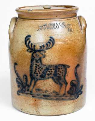 Fine C. W. BRAUN / BUFFALO, NY Stoneware Jar with Deer Decoration