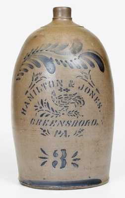 3 Gal. HAMILTON & JONES / GREENSBORO, PA Stoneware Jug w/ Stenciled Bird
