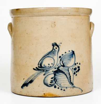 5 Gal. Fort Edward, NY Stoneware Crock with Bird Decoration