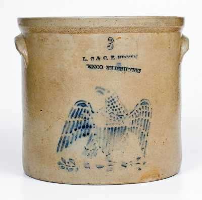 3 Gal. L. C. & C. F. BROWN / COLCHESTER, CONN. Stoneware Stenciled Eagle Crock