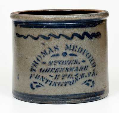 Western PA Stoneware Butter Crock with HUNTINGTON, W. VA Stenciled Advertising
