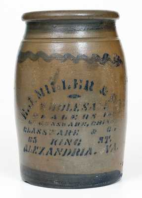 Western PA Stoneware Jar with E. J. MILLER & CO. / ALEXANDRIA, VA Stenciled Advertising