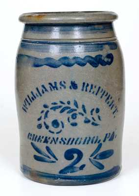 2 Gal. WILLIAMS & REPPERT / GREENSBORO, PA Stoneware Jar