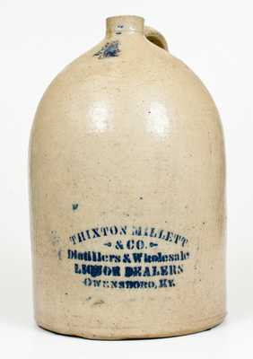 Unusual 4 Gal. Stoneware Jug with OWENSBORO, KY Stenciled Advertising