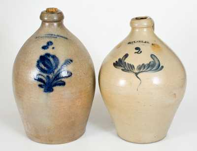 Lot of Two: Harrington & Burger / Rochester, NY and N. Clark / Athens, NY Stoneware Jugs