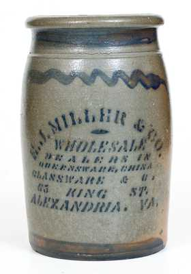 1 Gal. E. J. MILLER & CO. / ALEXANDRIA, VA Stoneware Jar with Stenciled Advertising