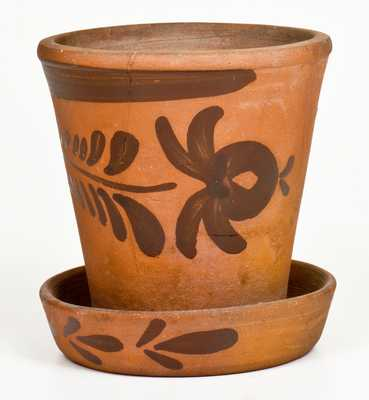 New Geneva, PA Tanware Flowerpot with Floral Decoration