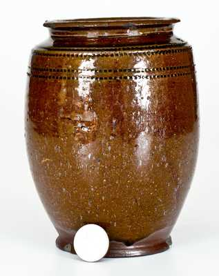 Glazed Redware Jar with Coggled Design, possibly Andrew Pitman, Stephens City, VA