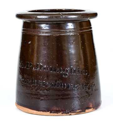 A. P. Donaghho / Parkersburg, WV Stoneware Canning Jar with Albany-Slip Glaze