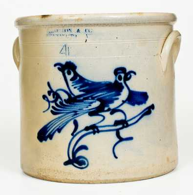 Fine J. NORTON & CO. / BENNINGTON, VT 4 Gal. Stoneware Double-Bird Crock