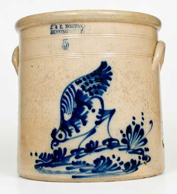 Very Fine J. & E. NORTON / BENNINGTON, VT 5 Gal. Stoneware Pecking Chicken Crock