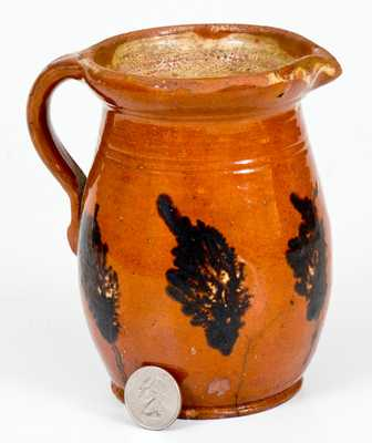 Unusual Pennsylvania Redware Pitcher with Mocha Seaweed Decoration