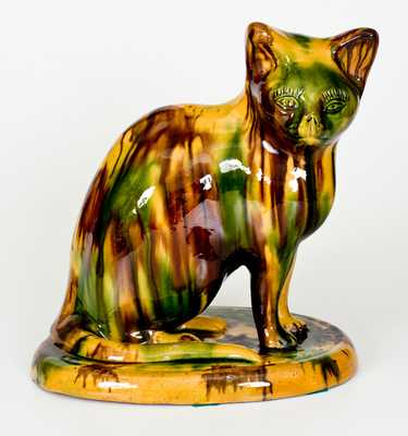 Rare Large-Sized Ohio Yellowware Cat Figure