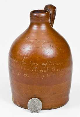 Unusual Small-Sized Jug w/ Baptist Church Ministerial Association Inscription, probably Indiana