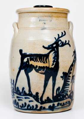 Exceptional FORT EDWARD POTTERY CO. Stoneware Deer Churn
