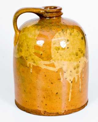 Rare Galena, IL Redware Jug with Yellow Slip Circle Decoration