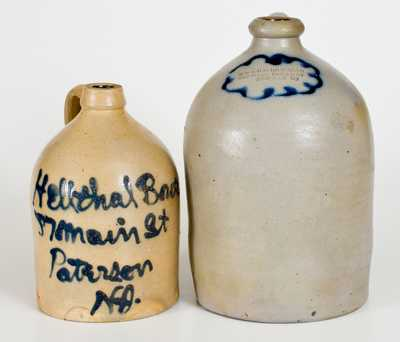 Lot of Two: Paterson, NJ and Newark, NJ Stoneware Advertising Jugs