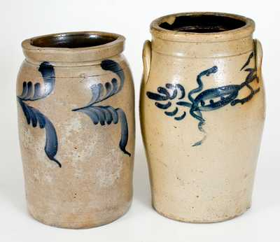 Lot of Two: Decorated Stoneware Churn and Stoneware Jar