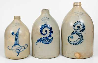 Lot of Three: Graduated Troy, NY Area Stoneware Jugs with Elaborate Numerals