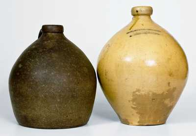 Lot of Two: Ovoid Stoneware Jugs, M. TYLER ALBANY MANUFACTURER and T. O. GOODWIN