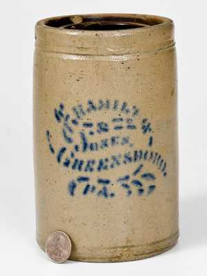 HAMILTON & JONES / GREENSBORO, PA Stoneware Canning Jar