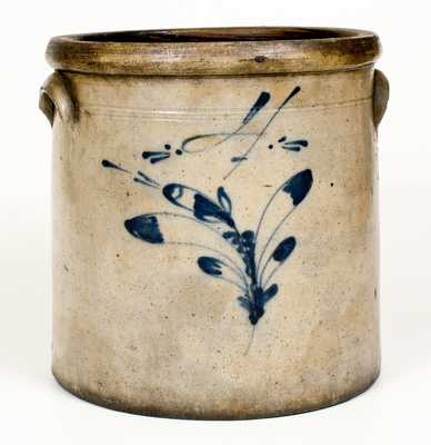 4 Gal. Ohio Stoneware Jar with Slip-Trailed Floral Decoration