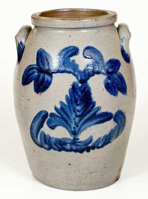 Outstanding 2 Gal. Baltimore Stoneware Jar w/ Well-Executed Cobalt Floral Decoration