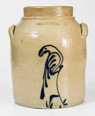 WHITES UTICA 1 Gal. Stoneware Jar with Slip-Trailed Bird Decoration