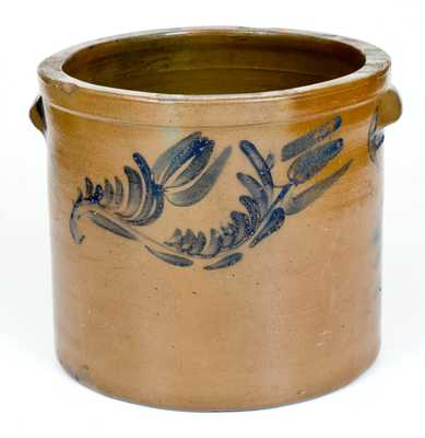 J. SWANK & CO. / JOHNSTOWN, PA Stoneware Cake Crock with Floral Decoration