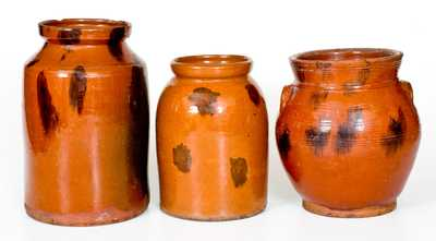 Lot of Three: Northeastern Redware Jars with Manganese Splotches