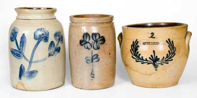 Lot of Three: Decorated Stoneware Jars