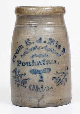 Western PA Stoneware Canning Jar with Powhatan, Ohio Advertising